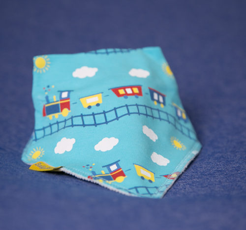 blue trains bandana bib