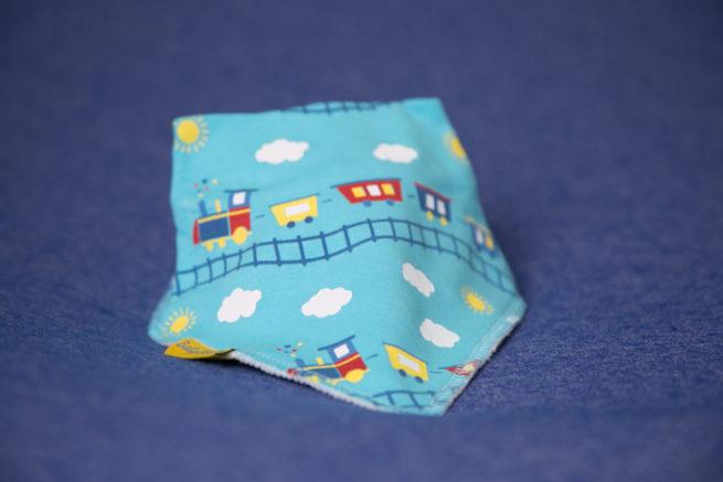blue trains bandana bib