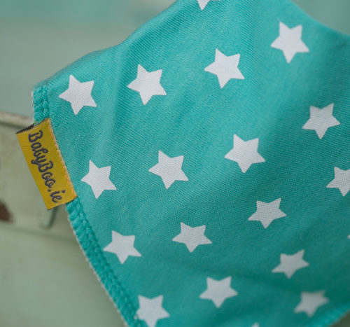 Sea green stars bandana bib