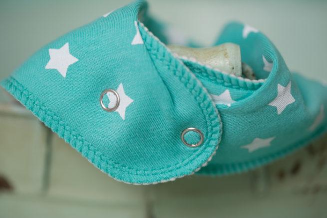 sea green stars bandana bib