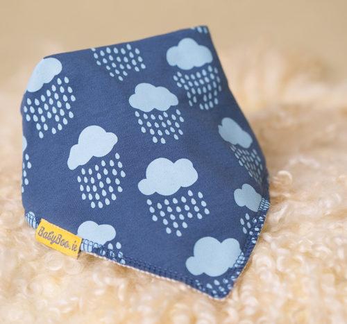 teal rain clouds bandana bib