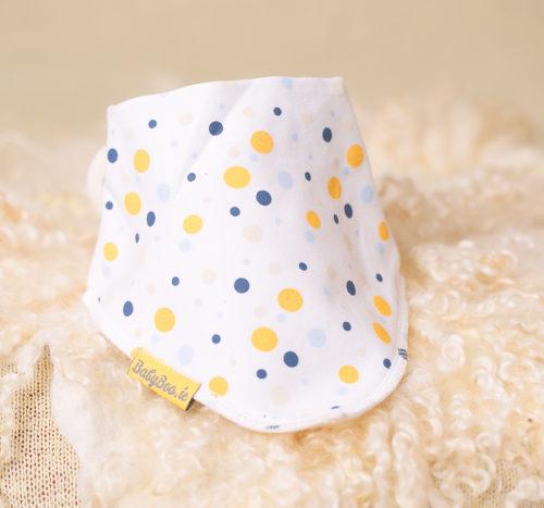yellow teal polka bandana bib