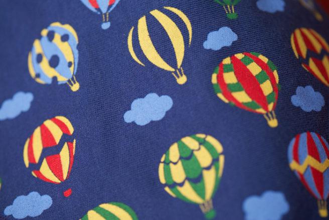 Navy hot air balloons bandana bib