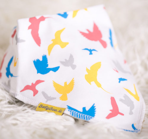 colourful birds bandana bib