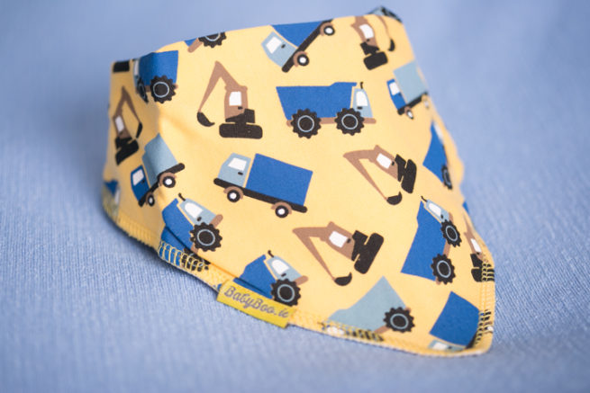 yellow trucks bandana bib