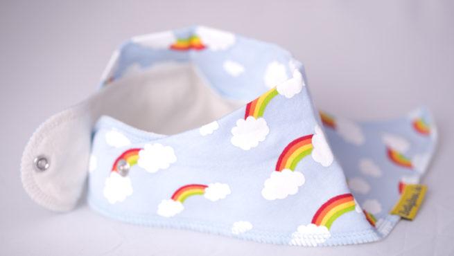 Clouds and rainbows bandana bib