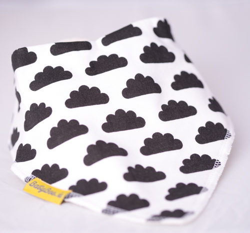 Monochrome clouds bandana bib