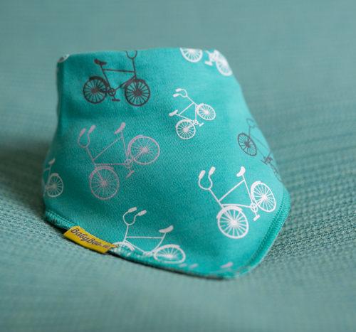 teal bicycles bandana bib