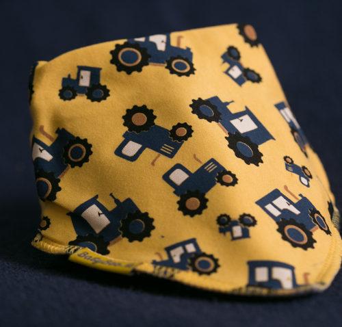 Blue tractors bandana bib