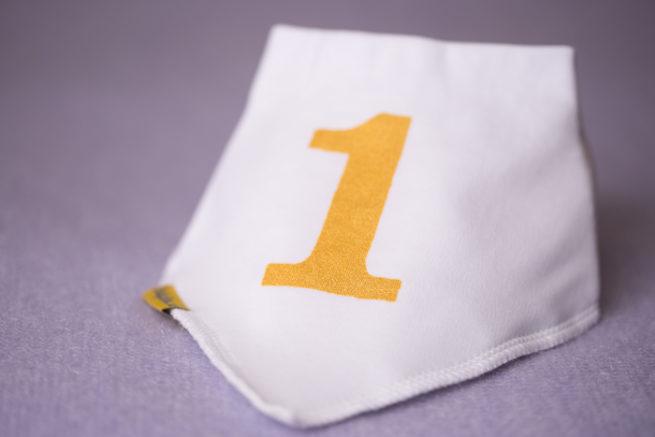 First birthday gold glitter bandana bib