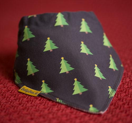 Christmas trees on grey bandana bib