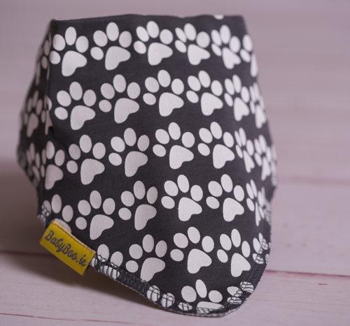 Grey paw print bandana bib