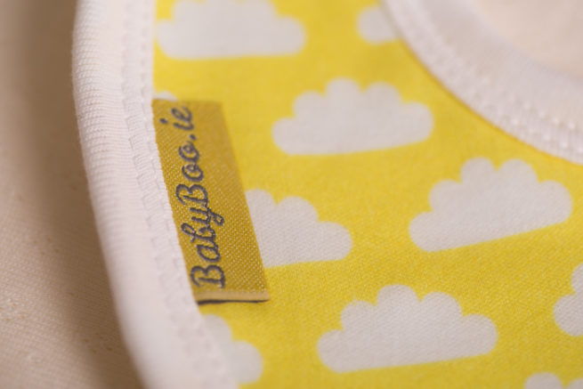 Yellow clouds little boo newborn bib