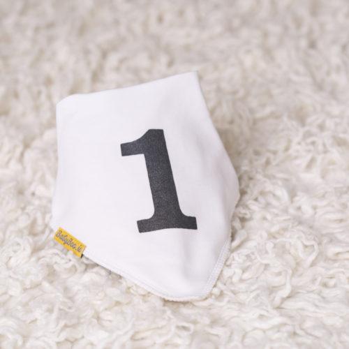 Monochrome first birthday bandana bib