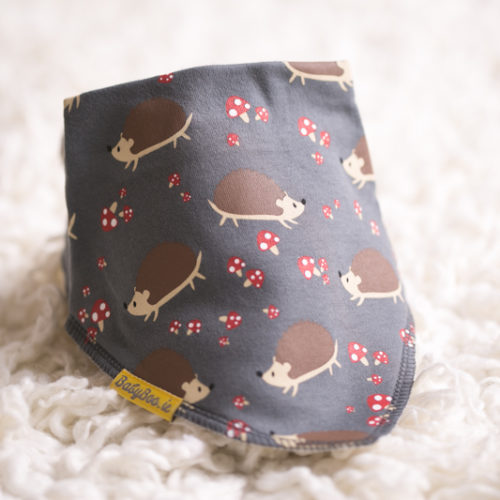 Grey hedgehog bandana bib