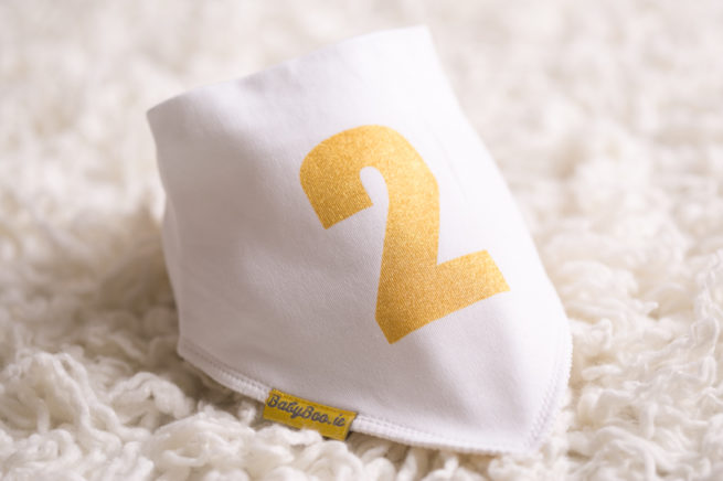 Gold 2 birthday bandana bib
