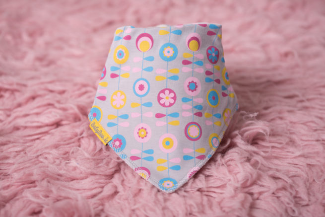 Grey Scandinavian Flowers Bandana Bib