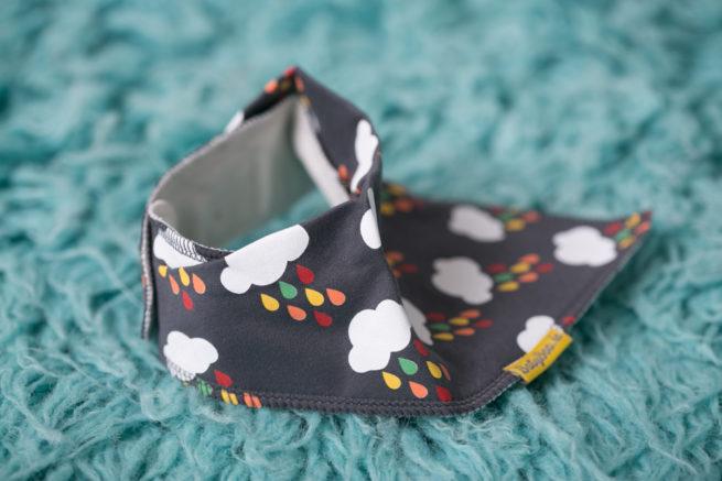 Grey Rainclouds bandana bib