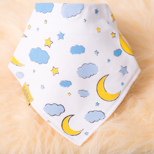 Moon and stars bandana bib