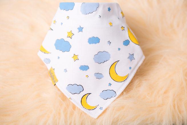 Moon and stars bandana bib