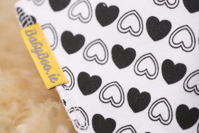 Monochrome Hearts bandana bib