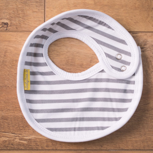 Grey stripes LittleBoo newborn bib