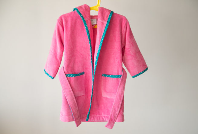 Pink with teal stars organic cotton robe