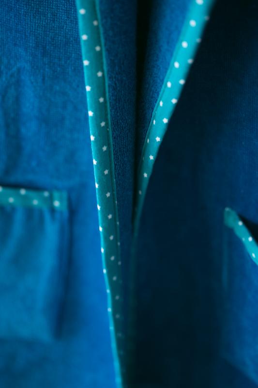 Teal stars organic cotton robe