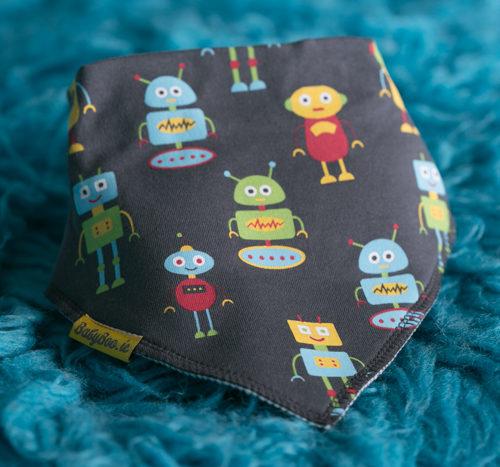 Grey robots bandana bib