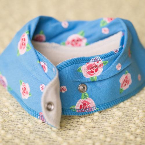 Blue roses DribbleBoo bandana bib