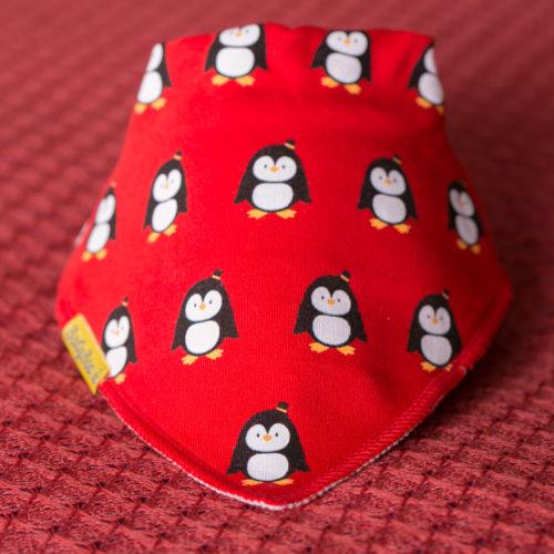 Red penguins Christmas bib