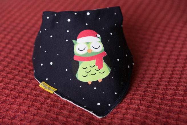 Navy Christmas Owl bandana bib