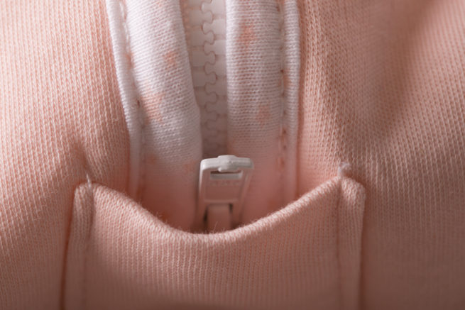 Zip detail peach sleeping bag