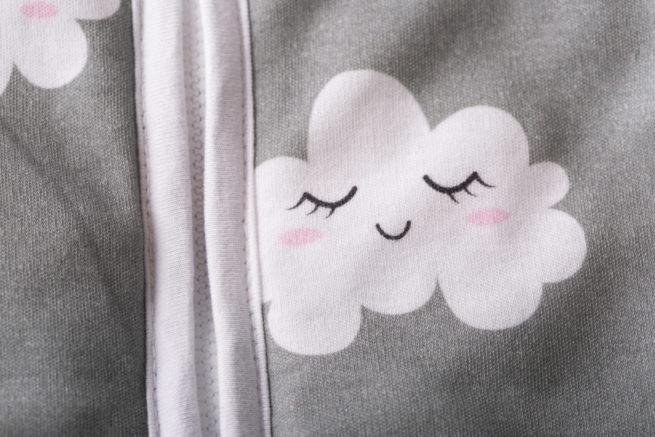 Zip detail sleepy clouds sleeping bag