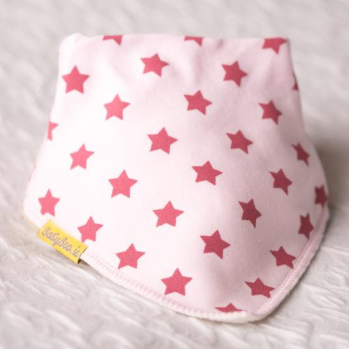 Berry stars on baby pink bandana bib