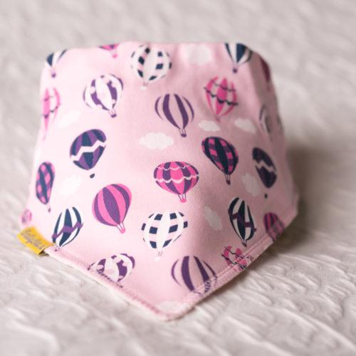 Pink hot air balloons bandana bib