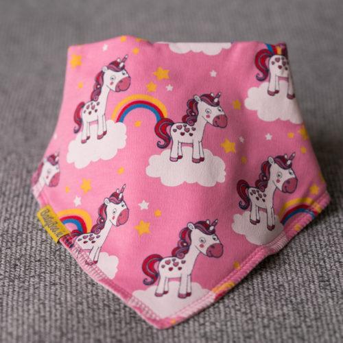 Pink unicorns bandana bib