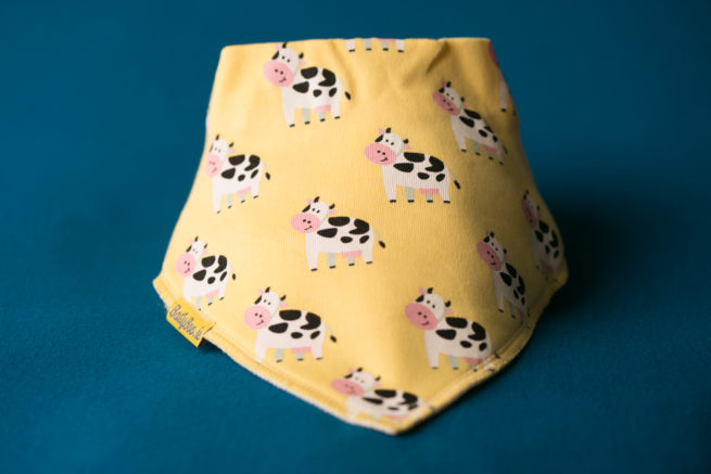 Lemon Cows Bandana bib