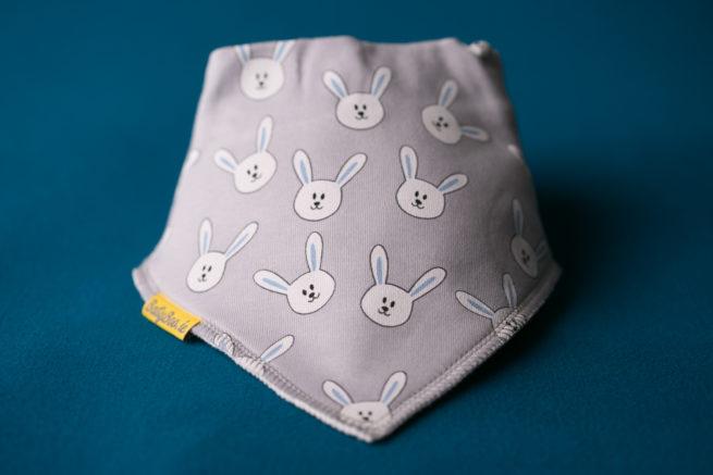 Grey Bunnies Bandana bib