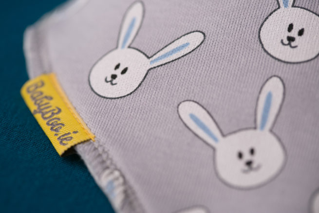 Grey Bunnies Bandana bib