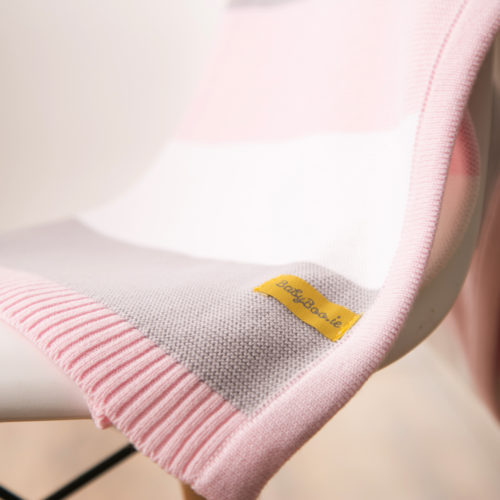 Pink stripes organic cotton blanket