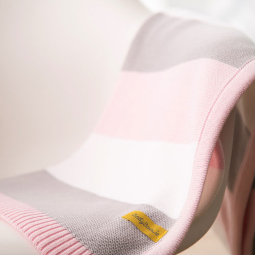 Pink stripes organic cotton blanket