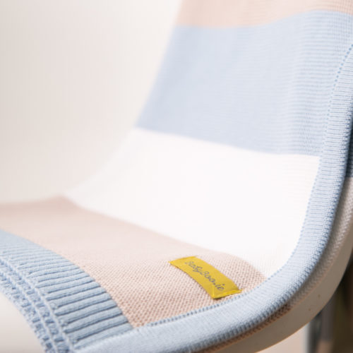 Blue stripes organic cotton blanket