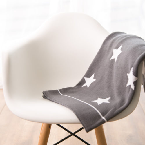 Grey stars organic cotton blanket