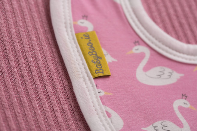Pink swans littleboo newborn bib