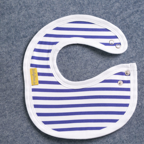 Blue stripes littleboo newborn bib