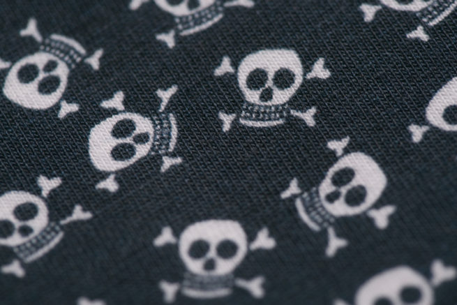 Navy skulls littleboo newborn bib