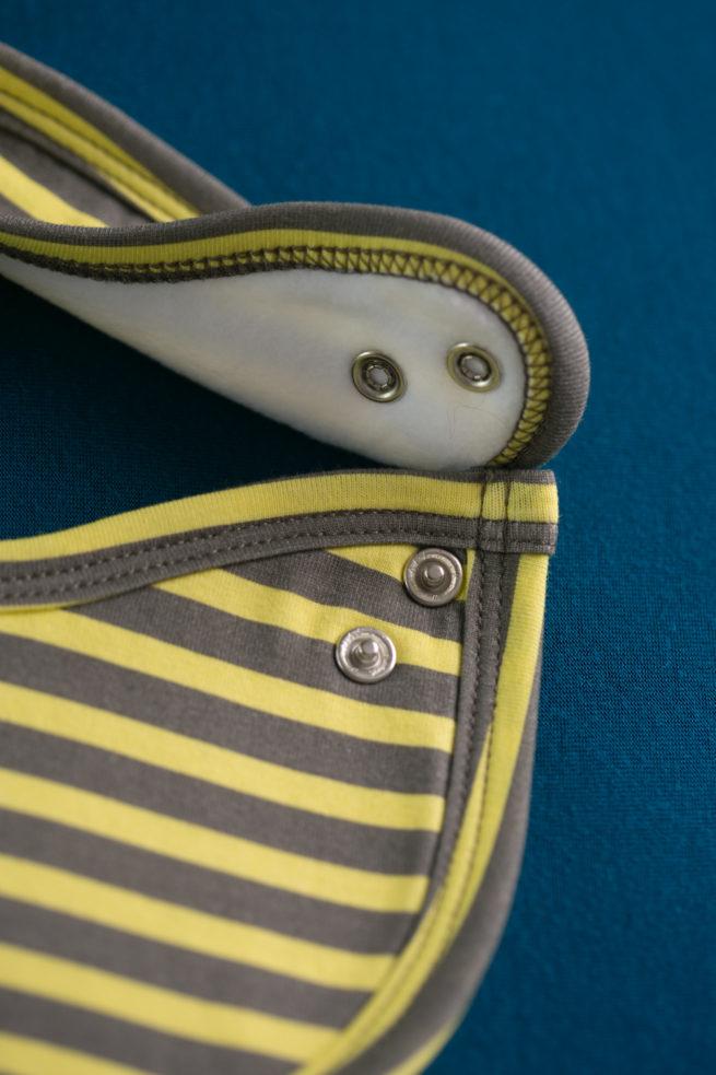 Yellow and grey stripes littleboo newborn bib