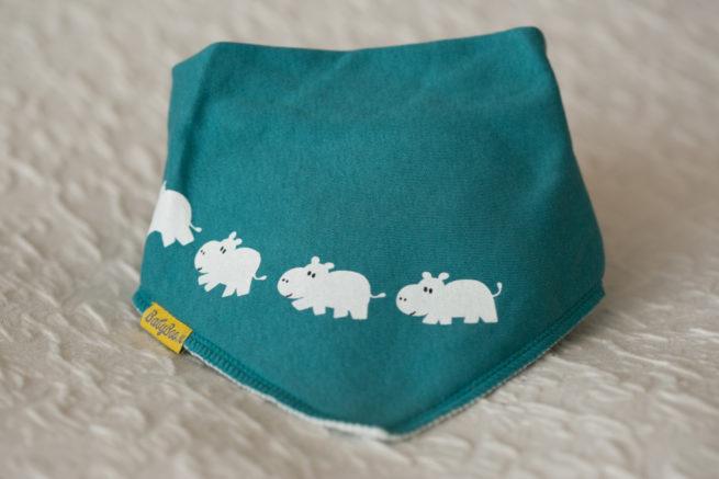 Teal hippos dribbleboo bandana bib