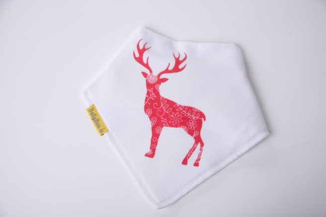 Scandi inspired deer Christmas bandana bib